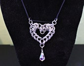 Chainmail Valentines Heart pendant necklace stainless steel Swarovski Crystal Clear AB
