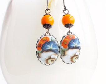 Orange Floral Earrings Vintage Flower Cameos Tangerine Flower Earrings Blue Orange Floral Jewelry Garden Flowers