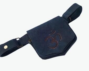 Leather Festival Belt | Black Suede, Om | 2 pockets, Utility Belt | travel, burning man | Flask Holder