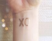 valentine metallic temporary tattoos, XO x o hug kiss tattoos, wedding fake tattoo, hugs kisses best friend tats, gold silver, letterhappy