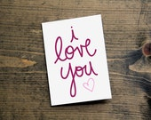 romantic valentine card birthday card anniversary card i love you handlettering heart design script typography greeting card with envelope