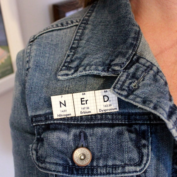 Chemistry Lab Coat Brooch Periodic Table Jewelry Personalized Handmade Men or Women -Nerd