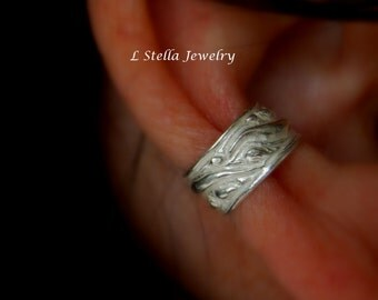 Ear Cuff Dew Drop Sterling Conch Non-pierced or pierced Helix textured design 925