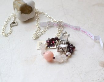 """Garnet LOVE Message Box Necklace - Pink Jade, Rose Quartz, Silver - Peace Light Love - Pax Lux Amor -18"""", Write Your Own Note, Free Shipping"""