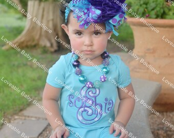 Turquoise and Dark Purple Over The Top Funky Birthday Boutique Hair Bow on matching Headband