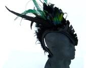 Leather feather mohawk, club wear, fetish, Avant garde,unisex, edgy, High end Headwear: Renegade Icon Designs