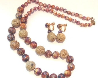 Beautiful Vintage 60s Miriam Haskell natural semi precious stone necklace and earring set //rare // designer