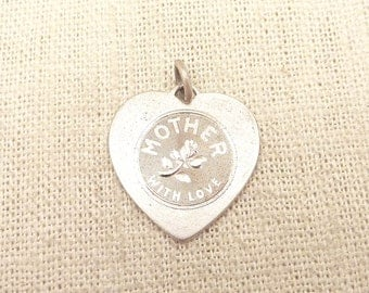 """Vintage Sterling """"Mother, With Love"""" Charm"""