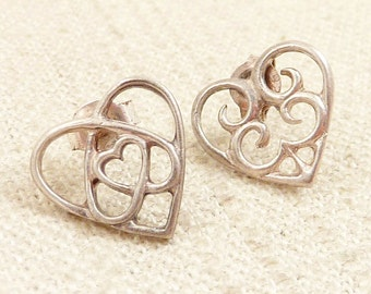 RESERVED for Nicole====Vintage Sterling Triple Heart Studs
