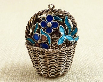 Antique Chinese Silver Blue and Purple Enamel Cloisonne Basket of Flowers Pendant