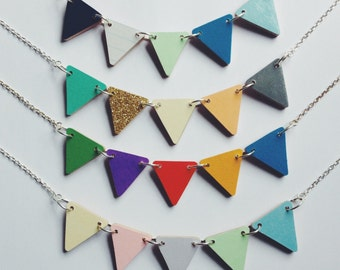 Bunting Necklace - Nectarine, Seaway, Carnival or Pastels