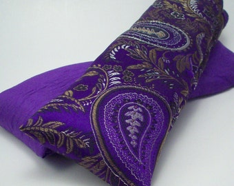"Purple Paisley Flax Seed Eye Pillow - Lavender or Unscented - Cold Therapy - Washable Cover - Computer Wrist Rest Support - 9 1/2"" x 3 1/2"""