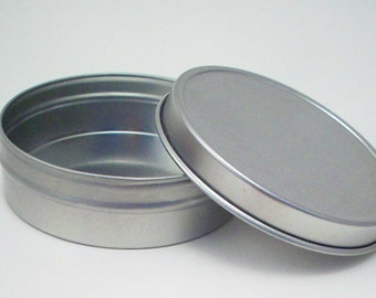 6 Empty 2 Ounce Tins with Shrink Bands and Lids - Silver Metal Balm Containers - Flat Silver Candy Tins - Bead Storage - Organization Tools