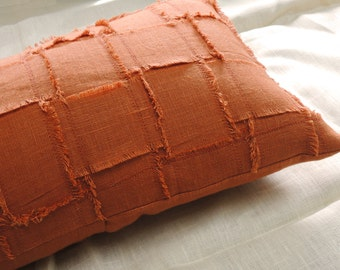 Woven texture fringed linen burnt orange rustic home decor decorative pillow cover your choice of size