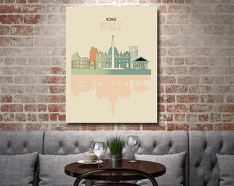 Rome Skyline on Canvas, Couples gift, Rome Decor, Travel Art, Italy Illustration, Destination Canvas Wall Art, anniversary gift,
