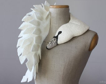 Jewelled Swan - felted wool animal scarf, stole / shrug / bridal - silver