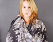 Through These Woods-  Circle Infinity Scarf With Bridle Leather Strap - Hand Printed Scarf - by Simka Sol