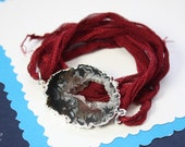 Druzy Geode Slice Bracelet Silver, Geode Bracelet, Crystal Slice, Silver Geode Slice, Silk Wrap, Silk Bracelet, Natural Pendant, GDSB1