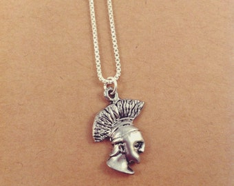 Spartan Charm Necklace, .999 Fine Sterling Silver Plated Mascot Charm Necklace, Nickel Free Jewelry, Free US Shipping.