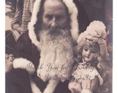 EXquisite 1905 Vintage FrENCH ReAL PhOTO Postcard * SANTA CLAUS * French PeRE NoEL * With Large Porcelain Doll - Hand Tinted