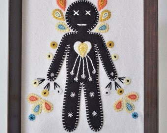 "Wall Hanging framed embroidery - ""Radiant"" embroidered human figure radiating light and love - awakening - all hand sewn - OOAK"