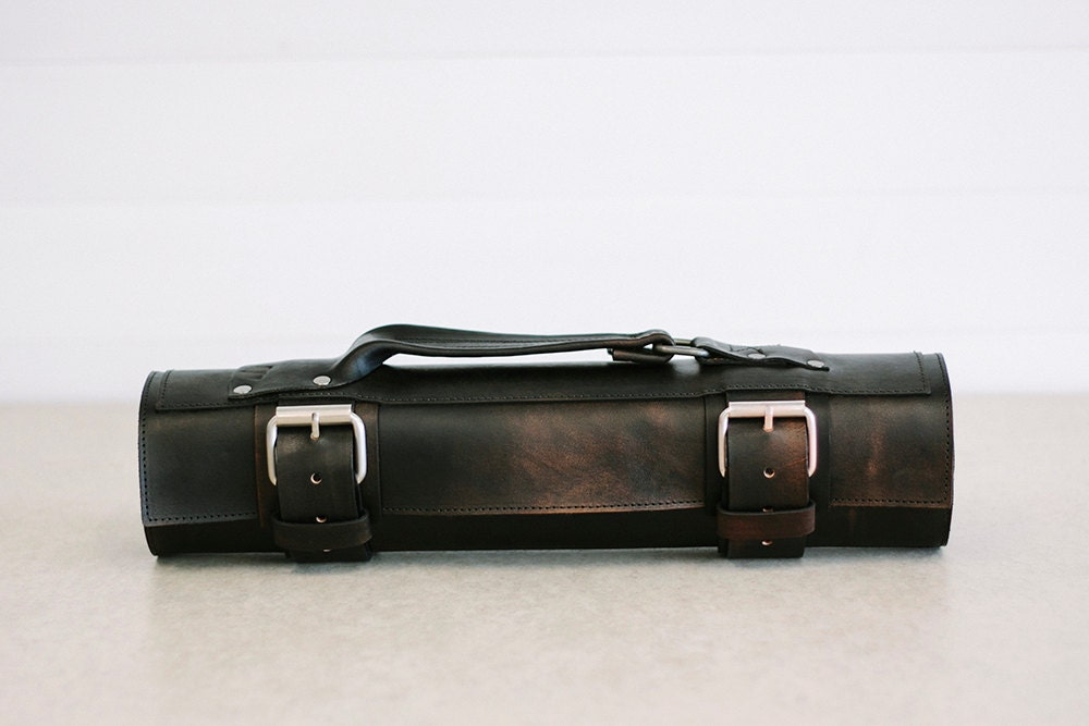 black custom leather knife roll chefs roll by. Black Bedroom Furniture Sets. Home Design Ideas