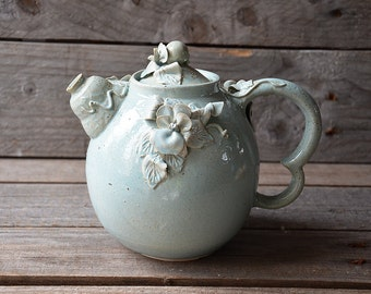 Pansy Teapot - MADE TO ORDER -  Stoneware teapot with daisies in light blue granitic glaze