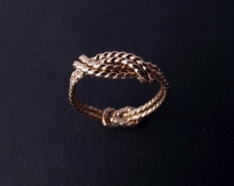 Solid 14K Gold. A Sailor's Wave and Secret Love Knot ring