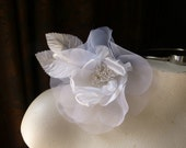 Silk Flower Organdy Millinery Rose in White for Hats, Corsages, Floral Design MF 115