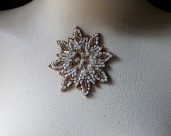 Beaded Applique Exquisite in Creme & Gold No 4 for Bridal, Pendants, Handbags, Costumes, Jewelry, Home Decor.