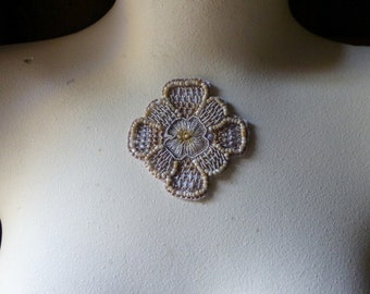 Blush Exquisite Beaded and Embroidered Applique in Blush & Gold no 22 for Bridal,  Handbags, Dance Costumes, Jewelry, Home Decor.