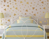 Triangle Confetti Wall Decals, Large Metallic Gold Triangle Set, Wall Confetti for Bedroom or Nursery
