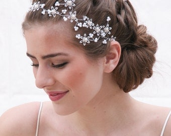 Wedding Hair Vine with Vintage Sequins and pearls, Wedding Hair Accessory Beaded Bridal Headband, Wedding Accessory