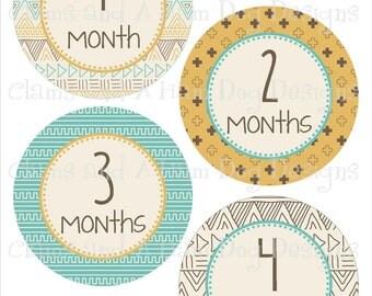 Monthly Milestone Stickers- Girls or Boys Tribal monthly stickers- month stickers- Monthly baby stickers- Optional Gerber ONESIE set-NEU158