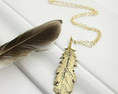 Feather Charm Necklace. Brass Feather. Long Chain Necklace. Bohemian Feather. Everyday Necklace. Brass and Gold Fill. Yoga. Modern. Bird.