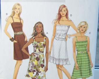 Butterick B5351 Misses' Dress Sewing Pattern, Misses' Sundress A Line Skirt Strapless Dress, Ruffled Hem Easy to Sew, Size 8 - 14