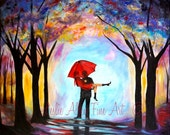 """Couple Painting Couple Art Print Red UmbrellaLOVE Wall Art Kissing  Couples Painting Print  Rainy """"The Fox Met Her Hound"""" Leslie Allen"""