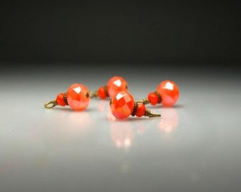 Vintage Style Bead Dangles Orange Glass Set of Four O906