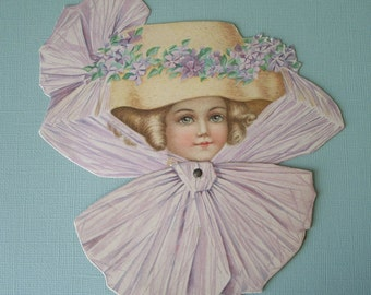 Vintage Raphael Tuck Mechanical Easter Greeting Card Pretty Girl in Hat