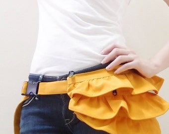 New Year SALE - 20% OFF Gathered Waist Purse in Yellow / Fanny Pack / Hip Bag / Pouch / Waist Belt / Small / Women / For Her / Gift Ideas