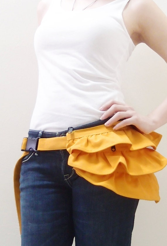Gathered Waist Pouch in Yellow, Fanny Pack, Hip Bag, Zipper Pouch, Bridesmaid Gift, Travel Pouch, Gift ideas for Women - GWP -  SALE 30% OFF