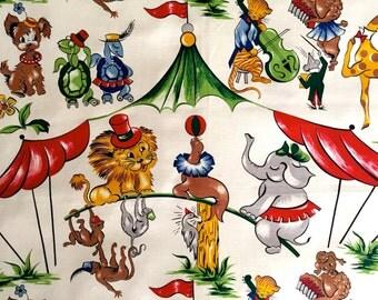 Under the Big Top// Vintage Children's Novelty Circus Fabric//  Mid Century Barkcloth// Cotton Yardage//