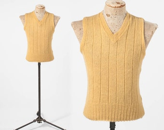 1940s Mens Wool Knit Sweater Vest: Vintage Yellow Wool V Neck Sleeveless Pullover, 40s Golf Sweater, Classic Professors Collegiate Top