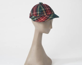 1940s Wool Plaid Cap: Vintage Tartan Plaid Hat, Childrens Beanie with Brim, 40s School Girl Autumn Fall Winter