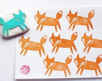 fox hand carved rubber stamp. woodland animal stamp. diy birthday halloween thanksgiving. scrapbooking. gift wrapping. autumn craft projects