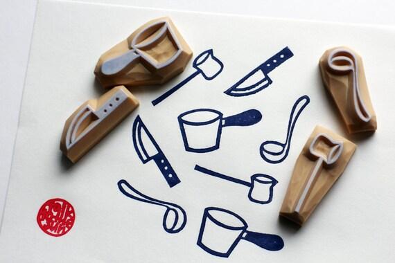 kitchen utensil hand carved rubber stamp. cooking stamp. knife, ladle, sauce pan, long handle milk pan stamp. diy scrapbooking. set of 4