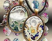 30x40 mm size ORNATE OVALS Digital Collage Sheet Printable download images for bezel cabs and trays pendants magnets key chains ArtCult