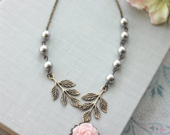 Pink Rose Flower, Brass Leaves Branch Grey Pearls Necklace. Bridesmaids Gift, Rustic Pink Grey Wedding, Gray Wedding, Ivory Pearls Jewelry