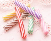 Fake Peppermint Candy Sticks | Polymer Clay Cane | Polymer Cane | Fake Sweets Deco - 6pcs