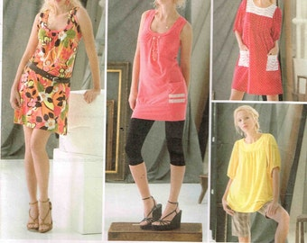 Knit Mini Dress or Top Loose Fitting Deep Scoop Neck Simplicity 2998 Sewing Pattern Size 4 6 8 10 12